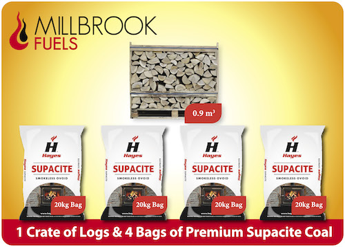 Kiln Dried Firewood Crate And 4 Supacite Coal